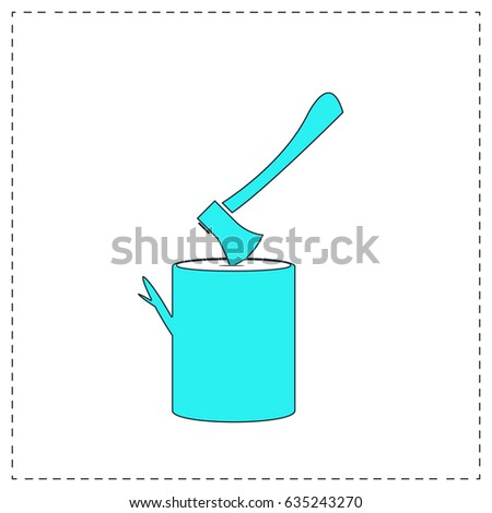 Tool lumberjack ax in a wooden deck. Blue simple pictogram with black stroke on white background. Flat icon illustration