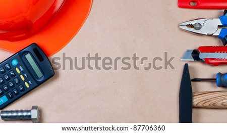 Tool on paper background top view. Concept of building and repairing. - stock photo
