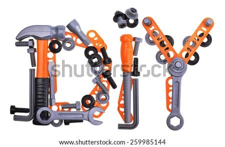 tool renovation diy set isolated on white background - stock photo