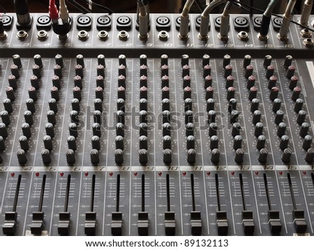 Tool to process audio signals in the studio. - stock photo