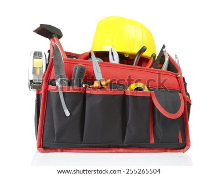 Toolbox and hardhat - stock photo