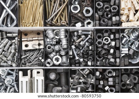 Toolbox , Box for metal bolt, nut, screw, nail