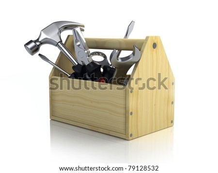 Toolbox isolated on white background - stock photo
