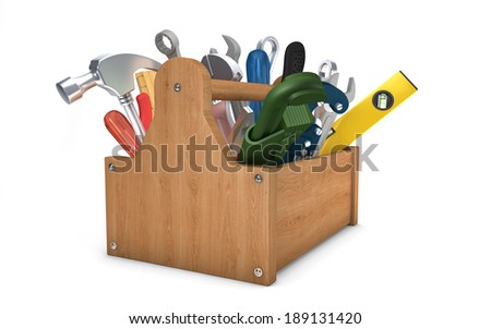Toolbox isolated on white with clipping path - stock photo