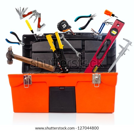 Toolbox with tools isolated on white background - stock photo