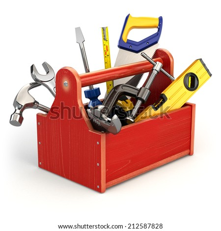 Toolbox with tools on white isolated background. 3d - stock photo