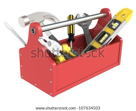 Toolbox with tools. Red toolbox with tools.