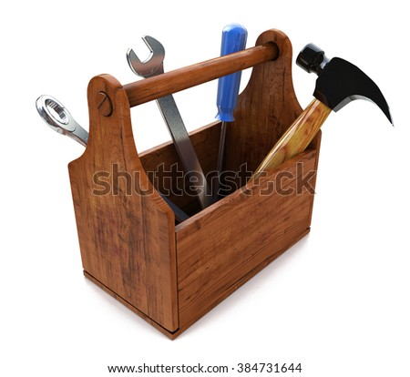 Toolbox with tools. Skrewdriver, hammer, handsaw and wrench. 3d in the design of the information associated with a request for repair - stock photo