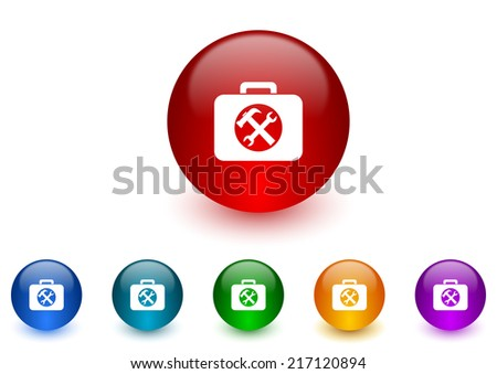toolkit internet icons colorful set - stock photo