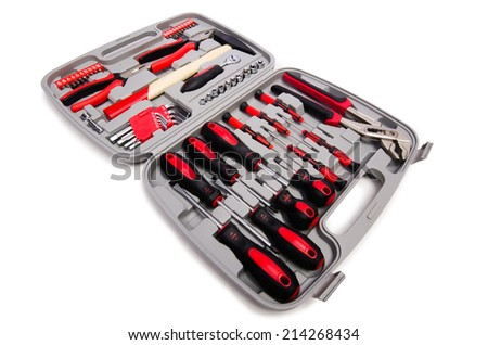 Toolkit isolated on the white background - stock photo