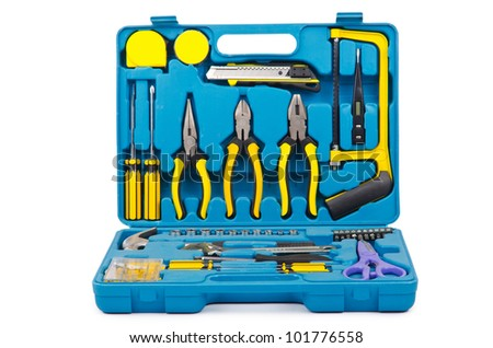 Toolkit with many tools isolated on white - stock photo
