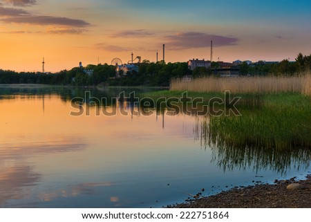 Toolo Bay at sunset time in Helsinki, Finland. - stock photo