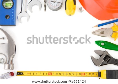 tools and construction equipment isolated on white background - stock photo