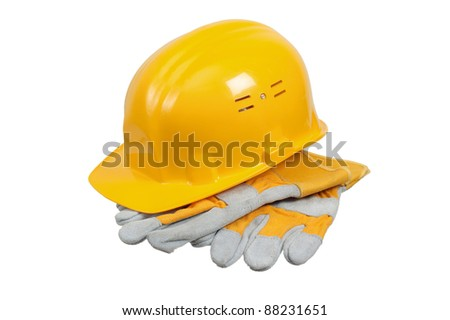 Tools and helmet of the builder, it is isolated on white