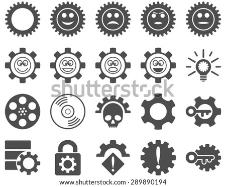 Tools and Smile Gears Icons. Glyph set style: flat images, gray color, isolated on a white background.
