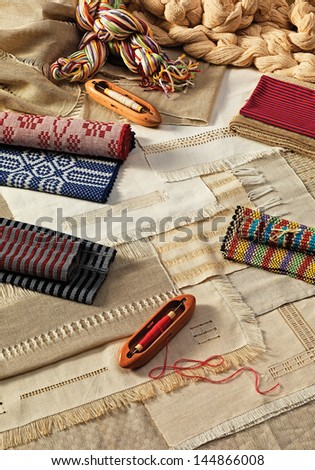 tools and woven traditional textile industry - stock photo