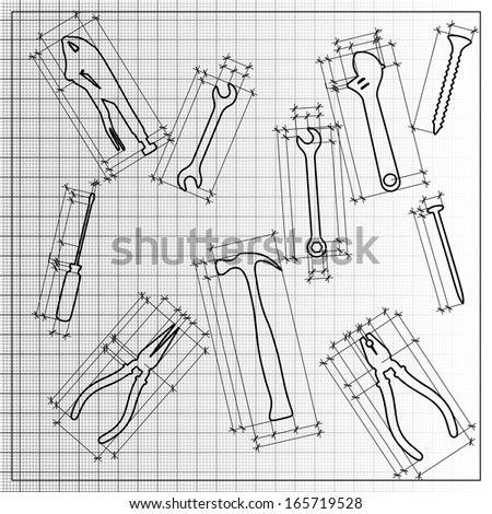 tools blueprint sketch - stock photo
