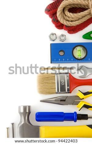 tools construction isolated on white background - stock photo
