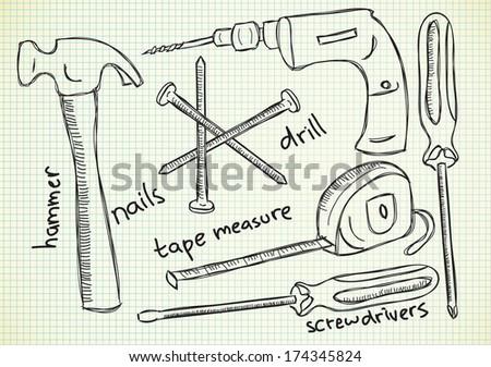 Tools doodle - stock photo