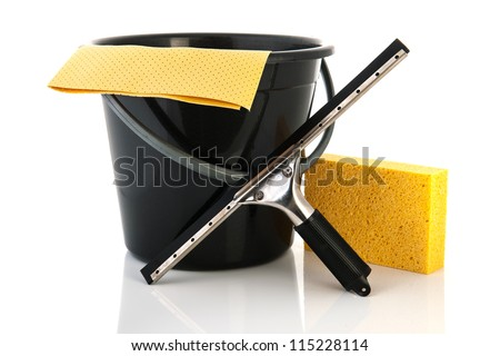 Tools for cleaning windows isolated over white background - stock photo