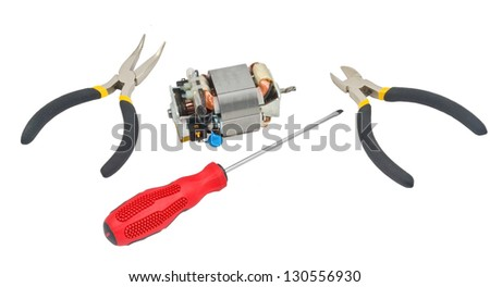 Tools for home electrical repair - stock photo