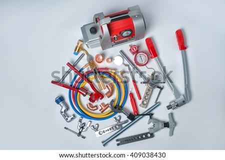 Tools for HVAC - stock photo