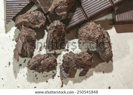 Tools for making chocolates. Chocolate bar. Bulgaria - stock photo