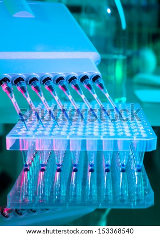 Tools for PCR amplification of DNA: 96-well plate and automatic pipette