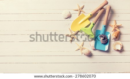 Tools for playing in sand for kids and sea object on white  painted wooden planks. Place for text. Vacation background. Toned image. - stock photo