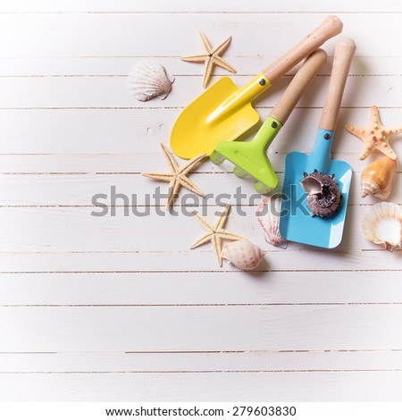 Tools for playing in sand for kids and sea object on white  painted wooden planks. Place for text. Vacation background. Square image. - stock photo