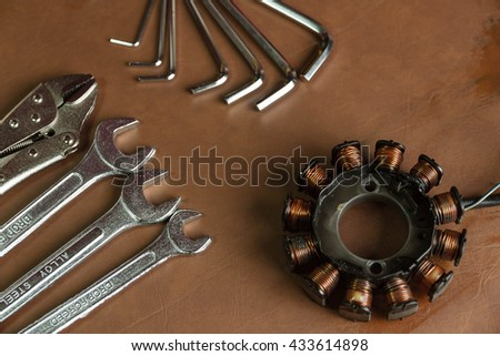 tools for repairs on Brown background