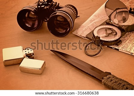 Tools for survival in the wilderness. - stock photo