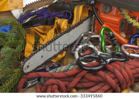 Tools for trimming trees, utility arborists. Chainsaw, rope and carabiners to work lumberjack. Arborist - doctors trees - stock photo