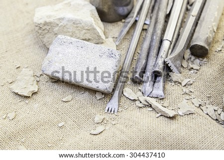 Tools for working stone, carving - stock photo