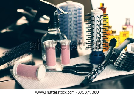 Tools hairdresser comb scissors - stock photo