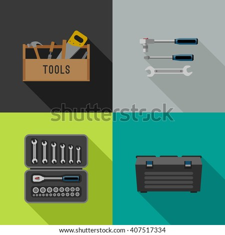 Tools icons in flat style. Illustrations of hand tools. Raster version. - stock photo
