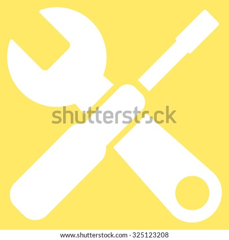 Tools illustration icon. Style is flat symbol, white color, rounded angles, yellow background.