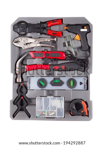 Tools in a gray toolbox. Isolated on a white background.