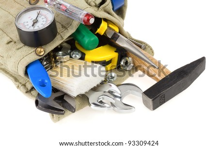 tools in belt bag isolated on white background