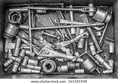 Tools in Disarray, Black and white - stock photo
