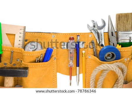 tools in leathern belt isolated on white background - stock photo