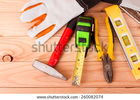 Tools in the shape of a house, home improvement concept - stock photo