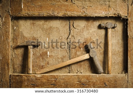 tools in wooden background