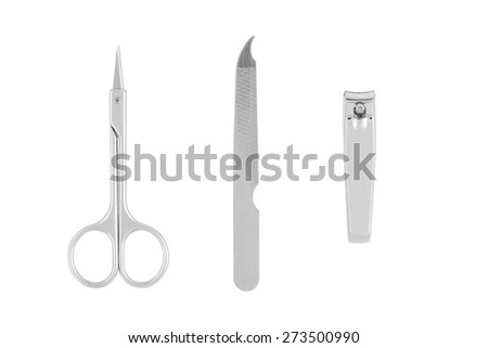 Tools of a manicure set isolated on white background, hair clip, nail clippers, nail file with clipping path - stock photo