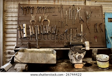tools of auto mechanic workshop - stock photo