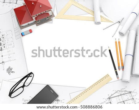 Tools Of The Architect And Architectural Drawings Isolated On White Background Top View With Copy