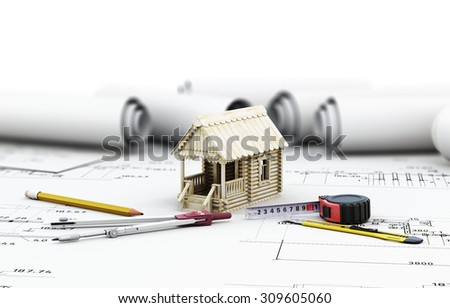 Tools of the architect and the wooden house in the drawings. 3d illustration. - stock photo