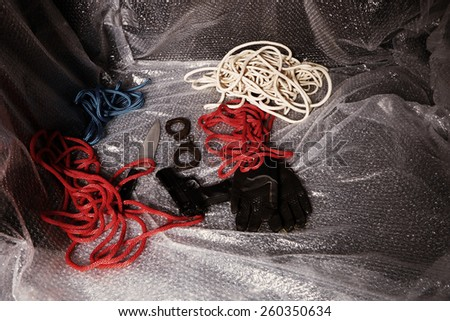 Tools of violent criminal in car ready to use - stock photo