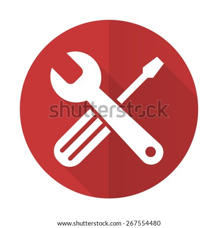tools red flat icon service sign  - stock photo