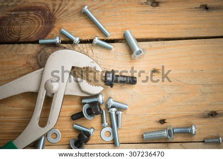 tools supplies on a wooden for vintage background. - stock photo